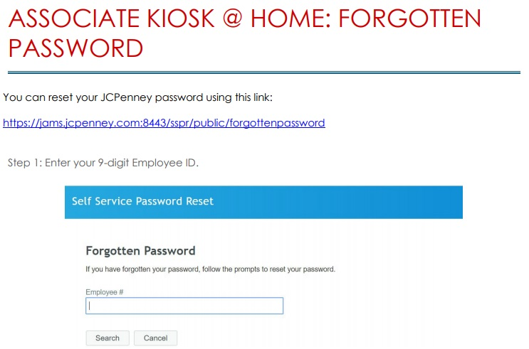 Reset jcpenney Employee Login Password